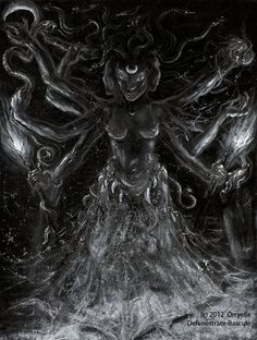 Hekate Triformis    -The 3-faced form of the ancient Thracian Goddess of Witchcraft and the Cross-roads, Keeper of the Keys and bearer of the Twin Torches: