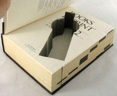 Real Secret: Unique Storage Custom Cut into Classic Books Secret Storage, Book Storage, Hidden Storage, Storage Ideas, Hidden Safe, Hidden Gun, Book Safe, Secret Space, Hidden Rooms