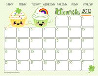I use these really cute (and free!) printable calendars in my classroom but they are great for anywhere! Enjoy :)