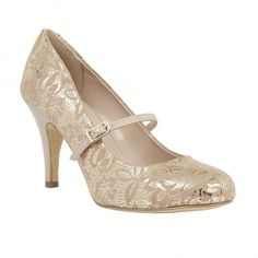 Ultra chic and ooing femininity is the Lotus Fuina court shoes. This round toe Mary-Jane style is accentuated by a damask inspired floral printed design, a delicate fastening strap and an heel. Debenhams, Court Shoes, Beautiful Shoes, Mary Janes, Kitten Heels, Floral Prints, Feminine, Footwear, Pumps