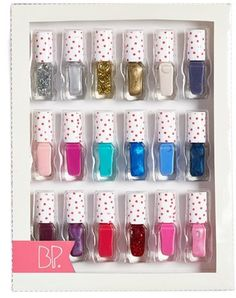 From pastel to metallic, matte to glitter, this gift set of 18 nail polishes is perfect for the color-loving gal with a flair for self-manicures. Polka dot caps add a darling touch to each bottle. Nail Polish Sets, Nail Polish Colors, Cute Nails, Pretty Nails, Lip Art, Lip Colors, Hair And Nails, Manicure, Nail Designs
