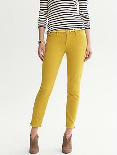 Heritage Gold Skinny Ankle Zip Jean: my other favorite mustard yellow khakis don't fit anymore. Too big now.