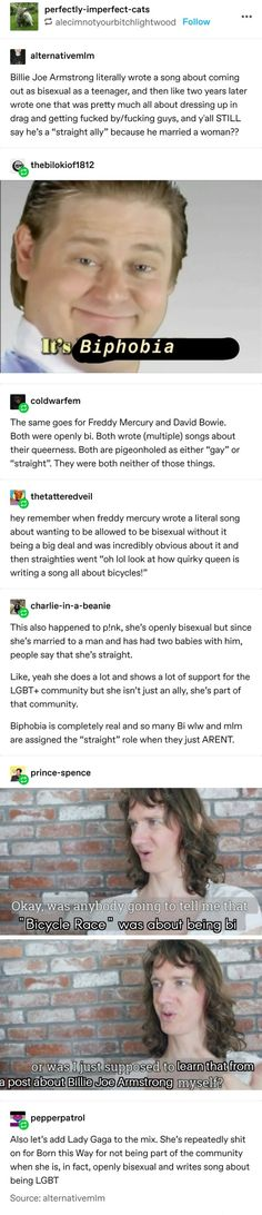 On erasure of bi musicians Lgbt Memes, A Silent Voice, The More You Know, My Tumblr, Faith In Humanity, Social Issues, Equality, Fun Facts, Jokes