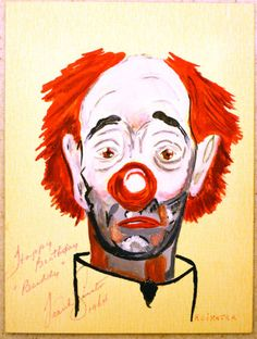 FRANK-SINATRA-DOUBLE-SIGNED-PAINTING-ARTWORK-CLOWN-FAMOUS-MEMORABILIA