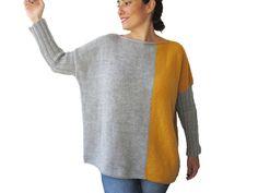 NUEVO suéter amarillo gris tallas grandes en tamaño por afra