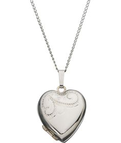 Buy 9ct White Rolled Gold Heart Locket Pendant at Argos.co.uk - Your Online Shop for Ladies' necklaces.