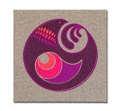"Embroidered Artwork, Wall Hanging - ""Harmony Bird"""