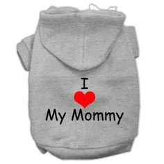 I Love My Mommy Screen Print Pet Hoodies Grey Size XXXL (20)