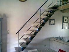 escalier acier avec led