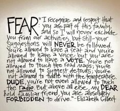 Fear...we are talking to you.