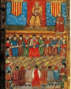@greathistory posted to Instagram: A 15th-century miniature of the Catalan Courts Unknown author -- Corts Catalanes segons una miniatura d'un incunable del segle XV - Catalonia - Wikipedia  . For a great virtual travel experience to with your class, try my Spanish Culture Worksheet: 23 Multiple-Choice Questions to go with the Barcelona & Cataluña episode of Rick Steves' Europe, currently available for free streaming online! Great for Spanish, history, art, and world cultures classes! Gre Jaime I, Autumn Rain, Spanish Culture, Medieval Art, 15th Century, Coat Of Arms, Middle Ages, Renaissance, Ikon