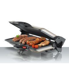 Rozsdamentes acélház Megfordítható, alumíniumöntvény,  svájci ILAG bevonatos tapadásmentes grill lapok Kontakt grillezésre Szétnyitható grill sütő felület Termosztát 250 ° C