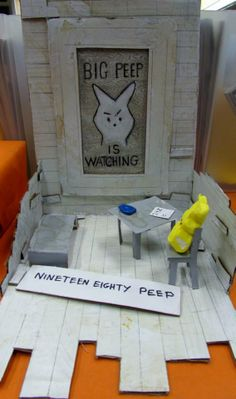 Peeps Sculpture Contest- Olympia Timberland Regional Library- Nineteen Eighty Peep by Steve Suski, 2014 - 1st Place for Adult Entries!