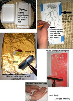 Styrofoam printing - can use hot glue gun or other thick drying glue on cardboard for opposite effect.