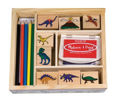 Encourage the kids to make their own Valentine's Day cards this year! These fun dinosaur stamps are perfect for girls and boys to stamp the card, color in, draw a background, and practice writing a Valentine's message! Mix and match the 8-9 playfully detailed stamps to create hundreds of beautiful scenes, and then color in the pictures with the 5 colored pencils! Each themed set includes 2 colored inkpads with washable ink. Ages 4+.