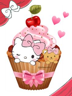 Hello Kitty Art, Hello Kitty Tattoos, Hello Kitty Themes, Hello Kitty Pictures, Sanrio Wallpaper, Hello Kitty Wallpaper, Hello Kitty Cupcakes, Kitty Cake, Cupcakes Wallpaper