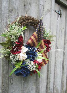 ON SALE Patriotic Wreath Americana Wreath by NewEnglandWreath