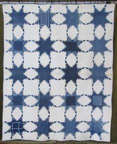 FARMHOUSE PRIM Civil War Era Antique Indigo Blue & White Feathered Star QUILT Vintageblessings
