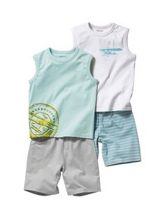 Happy Price Pack of 2 Boy's Short Pyjamas with Vest Top Assorted