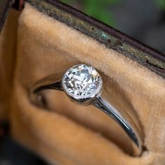 The solitaire style engagement ring contains one old European cut diamond weighs carats and is set into a bezel. The bezel is bordered with milgrain edging. The ring measures at the top, rises above the finger, tapering to wide Estate Engagement Ring, Antique Engagement Rings, Formal Casual, Antique Diamond Rings, Solitaire Diamond, Ruby Jewelry, Jewellery, European Cut Diamonds, Victorian Jewelry
