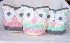 Valentine Owl , crocheted and stuffed owl toy