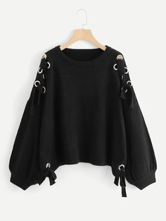 Shop Plus Lantern Sleeve Grommet Knot Jumper online. SHEIN offers Plus Lantern Sleeve Grommet Knot Jumper & more to fit your fashionable needs. Crop Top Outfits, Edgy Outfits, Mode Outfits, Cute Casual Outfits, Pretty Outfits, Girls Fashion Clothes, Teen Fashion Outfits, Fashion Hats, Fashion 2020