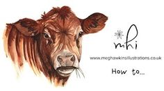Meg Hawkins Illustrations - YouTube Speed Paint, Cow, Moose Art, Watercolor, Youtube, Animals, Painting, Illustrations, Crafts