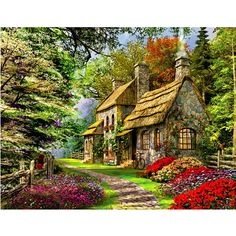 Garden House DIY 5D Diamond Embroidery Painting Cross Stitch Home Wall Decor Art