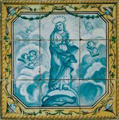 Do Tempo da Outra Senhora: Nossa Senhora no Azulejo Português -  Nossa Senhora da Conceição (1800). Painel de azulejos (42 x 42 cm). Fabrico de Lisboa. Museu Nacional do Azulejo, Lisboa.