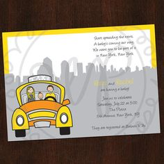 New York City Baby Shower Invitation Printed by WhimsyPaperie, $25.00