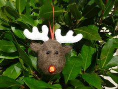 Handmade Needle Felted Bauble Rudolph the by SarahJaneColeby