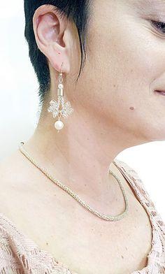 Angel Wings Earrings White Pearl Earrings Silver Wire by FestiJe