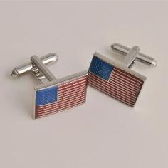 American Flag Cufflinks with Personalized Case