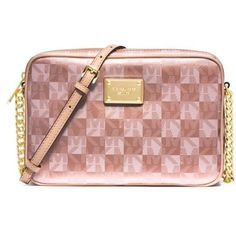 Michael Michael Kors Rose Gold Jet Set Large East West Crossbody ($158) ❤ liked on Polyvore featuring bags, handbags, shoulder bags, rose gold, crossbody shoulder bags, michael michael kors crossbody, metallic crossbody, metallic purse and chain crossbody