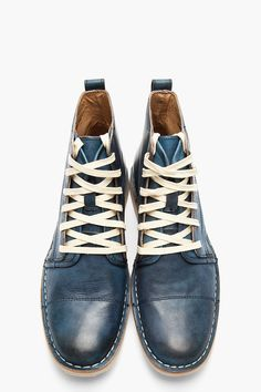 JOHN VARVATOS U.S.A Blue Leather Double-Lace Barrett Boots
