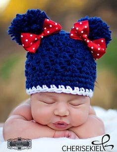 Artículos similares a Made to Order -- Pom Pom Princess in Patriot Crocheted  Hat with Pom Poms and Bows-- Also available in Baby to Adult sizes en Etsy 50d5cade144