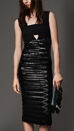 Fitted Silk Dress with Embellished Skirt | Burberry