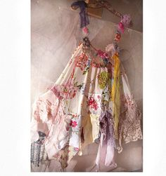 Beautiful Unique Art to Wear Light Cotton with Silk Dress  CINDERELLA with Yellow Pink Antique Tribal Boho Hippie GIPSY. $376.00, via Etsy.