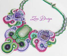 """Colier soutache """"Wisteria""""   Zena Design https://soutachedesign.wordpress.com/colier-soutache-wisteria/"""