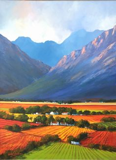 Landscape Paintings Oil Painting - Hex River Valley Framed by Willie Strydom Landscape Photos, Landscape Art, Landscape Paintings, Oil Paintings, Beautiful Paintings, Beautiful Landscapes, Fields In Arts, Oil Pastel Landscape, African Artwork