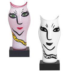 Open Minds Art Glass Vase by Ulrica Hydman-Vallien for Kosta Boda. Kosta Boda, Sweden, Glass Art, Faces, Weighing Scale, Jar Art, Face, Facial