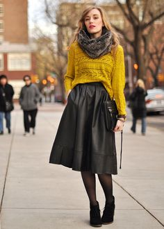 mustard sweater paired with a steel grey full skirt - fabulous fall style.