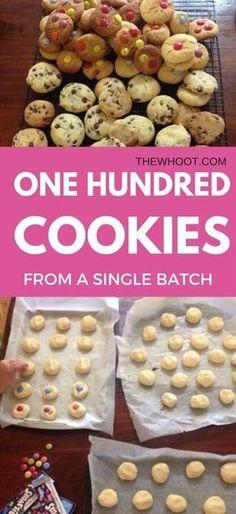 100 Cookies From One Single Batch Only 4 Ingredients - Recipes - Dessert Bulk Cookie Recipe, 100 Cookies Recipe, Easy Cookie Recipes, Sweet Recipes, Baking Recipes, Dessert Recipes, Easy Biscuit Recipe, Lamb Recipes, Condensed Milk Cookies