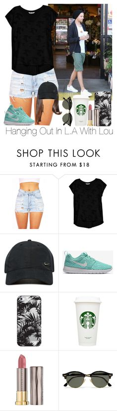 """""""»Hanging Out In L.A With Lou."""" by storyofmylife1danita-scream ❤ liked on Polyvore featuring Bobeau, NIKE, Casetify, Urban Decay and Ray-Ban"""