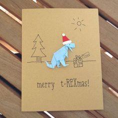merry t-REXmas, funny christmas card, dinosaur christmas card, funny holiday card, funny xmas card, origami christmas card, dino card