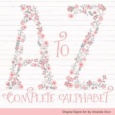 SPRING SALE Professional Floral Alphabet Clipart & by AmandaIlkov
