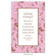 Baby Girl Pink Bandana Baby Shower Invitation: I'm having a baby girl and I would like pink bandana baby shower invitations.  I like paisley print stuff and of course we will be using pink decorations