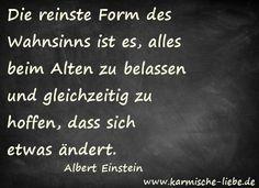 """""""Die reinste Form des Wahnsinns ist es, alles beim Alten zu belassen und gleichzeitig zu hoffen, dass sich etwas ändert.""""  Albert Einstein"""