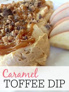 This delicious caramel toffee dip is perfect for a dessert or just a snack. The kids will devour it in no time at all.
