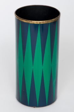 Piero Fornasetti; Brass and Enameled Metal Umbrella Stand, 1970s.